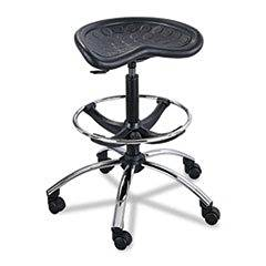 "** Sit-Star Stool with Footring & Caster, 27""-36h Seat, Black/Chrome **"