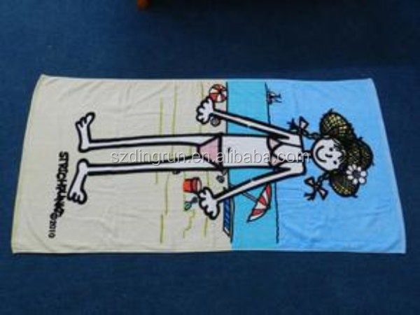 promotional beach towel of cartoon theme;60x120cm cartoon beach towel