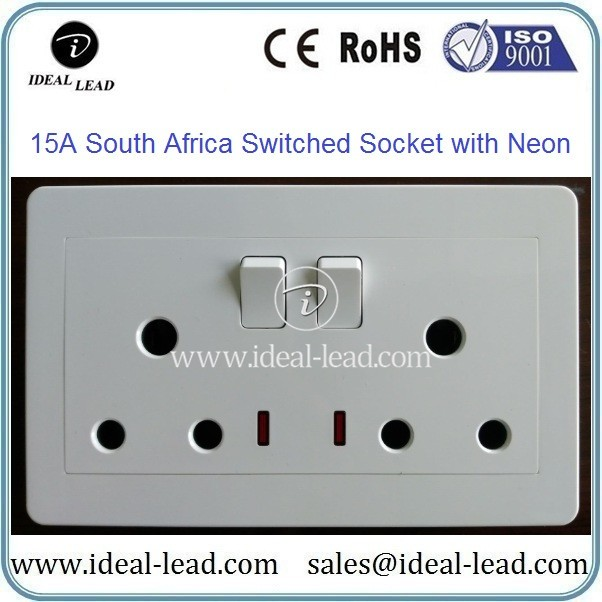 15A South Africa Switched Socket with Neon