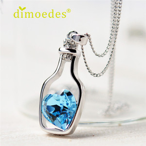 Creative Women Fashion Necklace Love Drift Bottles Pendant Necklace Blue Heart Crystal Pendant Necklace