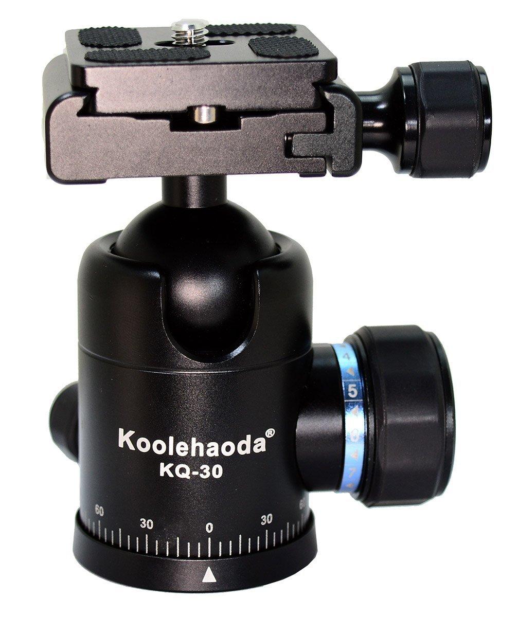koolehaoda KQ-30 Aluminum Tripod Ball Head Ballhead with Quick Release Plate for Camera Tripod, Max Load to 15kg(CNC process)