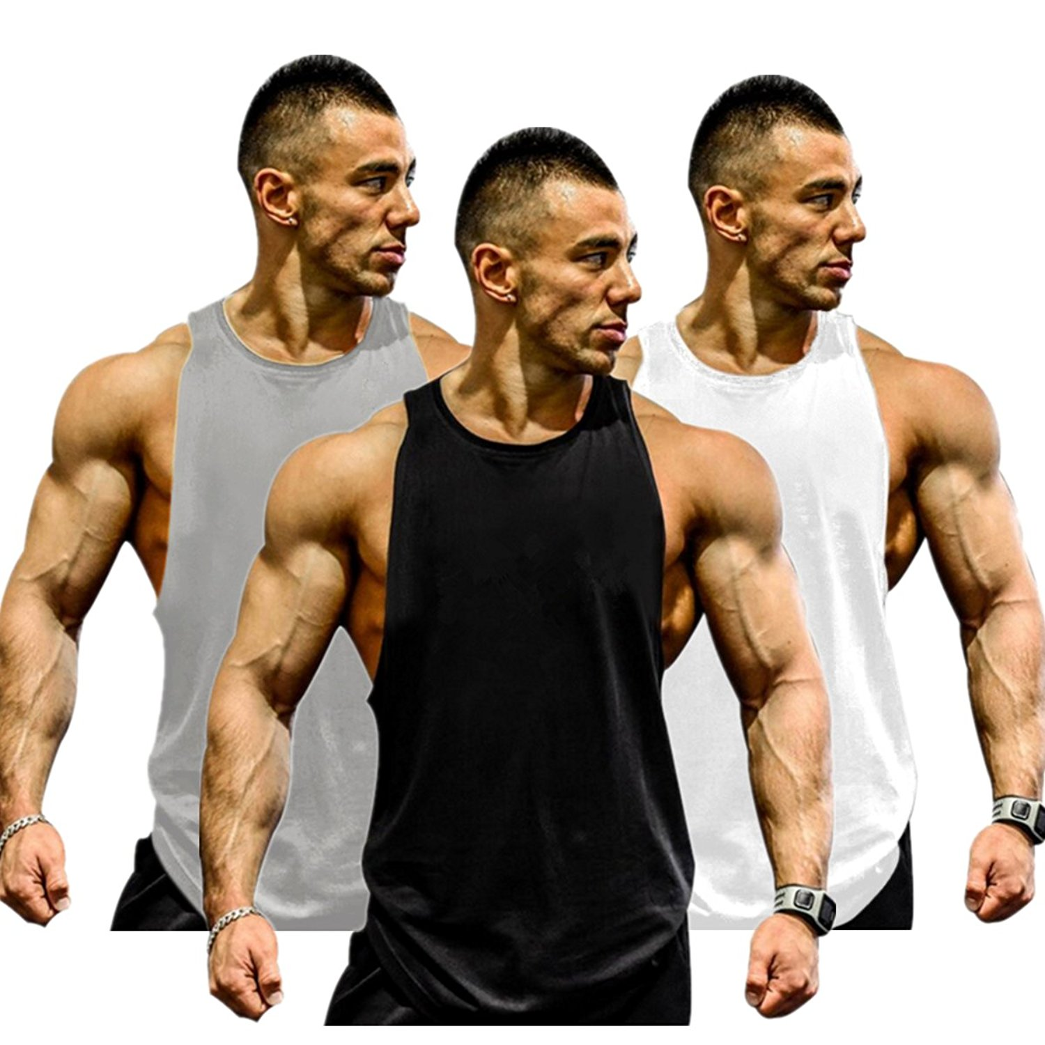 c498287f43c Get Quotations · Muscle Killer 3-Pack Mens Gym Tank Tops Muscle Cut  Stringer Bodybuilding Workout Sleeveless Gym