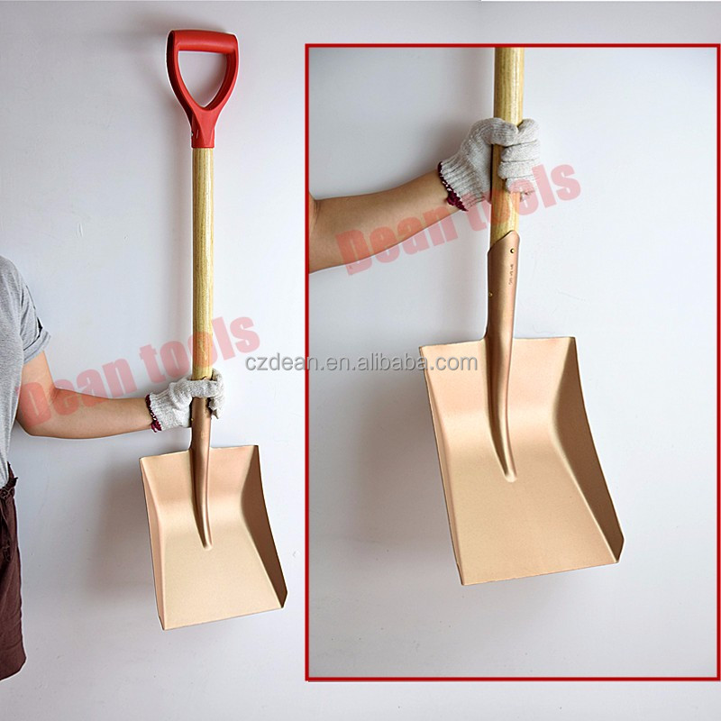 Brass square non sparking shovel,wooden handle-Cangzhou Dean tool company