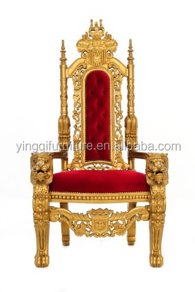 Carved Lion King Throne Chairs For Bride And Groom Wedding