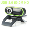 USB 2.0 50.0M Webcam Camera Web Cam HD with MIC For Computer PC Laptop Green & black Free Shipping