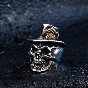 JMY Trendy High Quality Stainless Steel Men Skeleton Ring Rock Punk Biker Women Vintage Skull Wing Ring Jewelry
