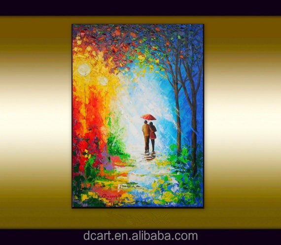 Modern discount high quality oil colorful street scape knife painting on canvas