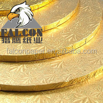 "10"" 12' 14"" 18"" and 22"" Round Grey paperboard Laminated glossy gold cake boards tray foil gold sliver cake board base"