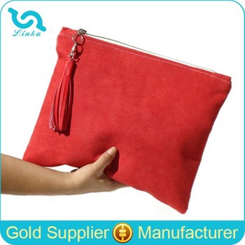 Large Red Suede Leather Clutch Bag Bridesmaid With Tassel
