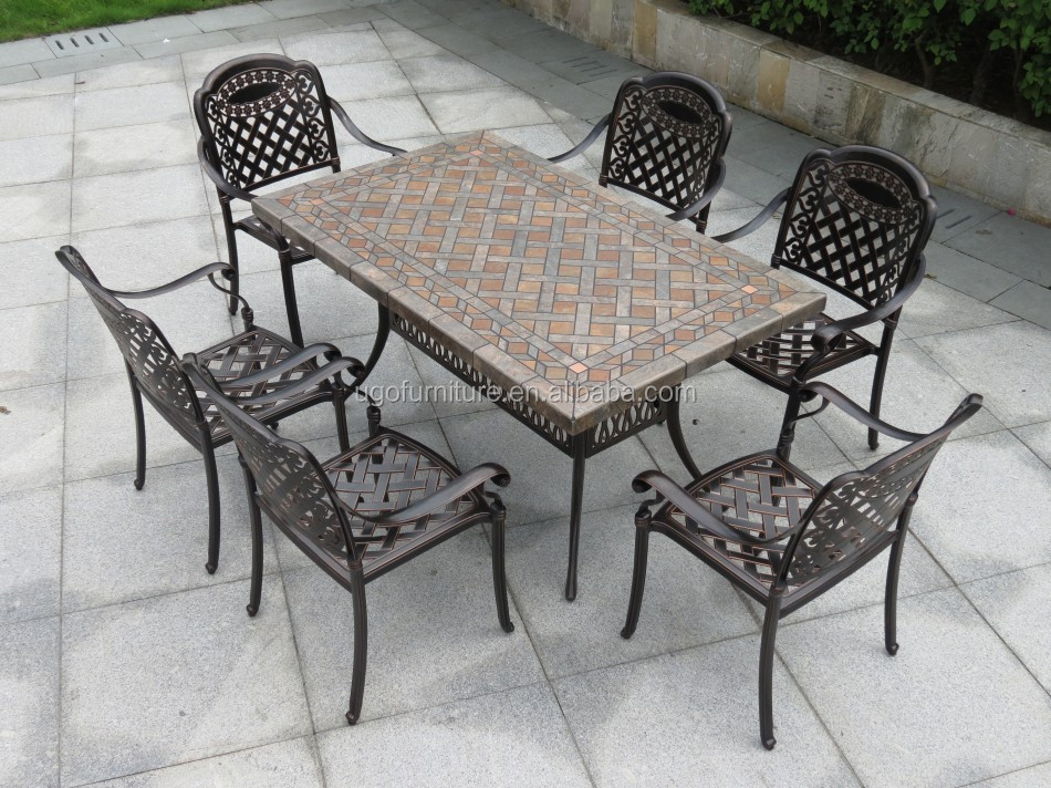 Outdoor Furniture Patio Cast Aluminum pictures All Weather Outdoor Furniture Patio Cast Aluminum Ceramic Tile Table with 6 Seater & All Weather Outdoor Furniture Patio Cast Aluminum Ceramic Tile Table ...