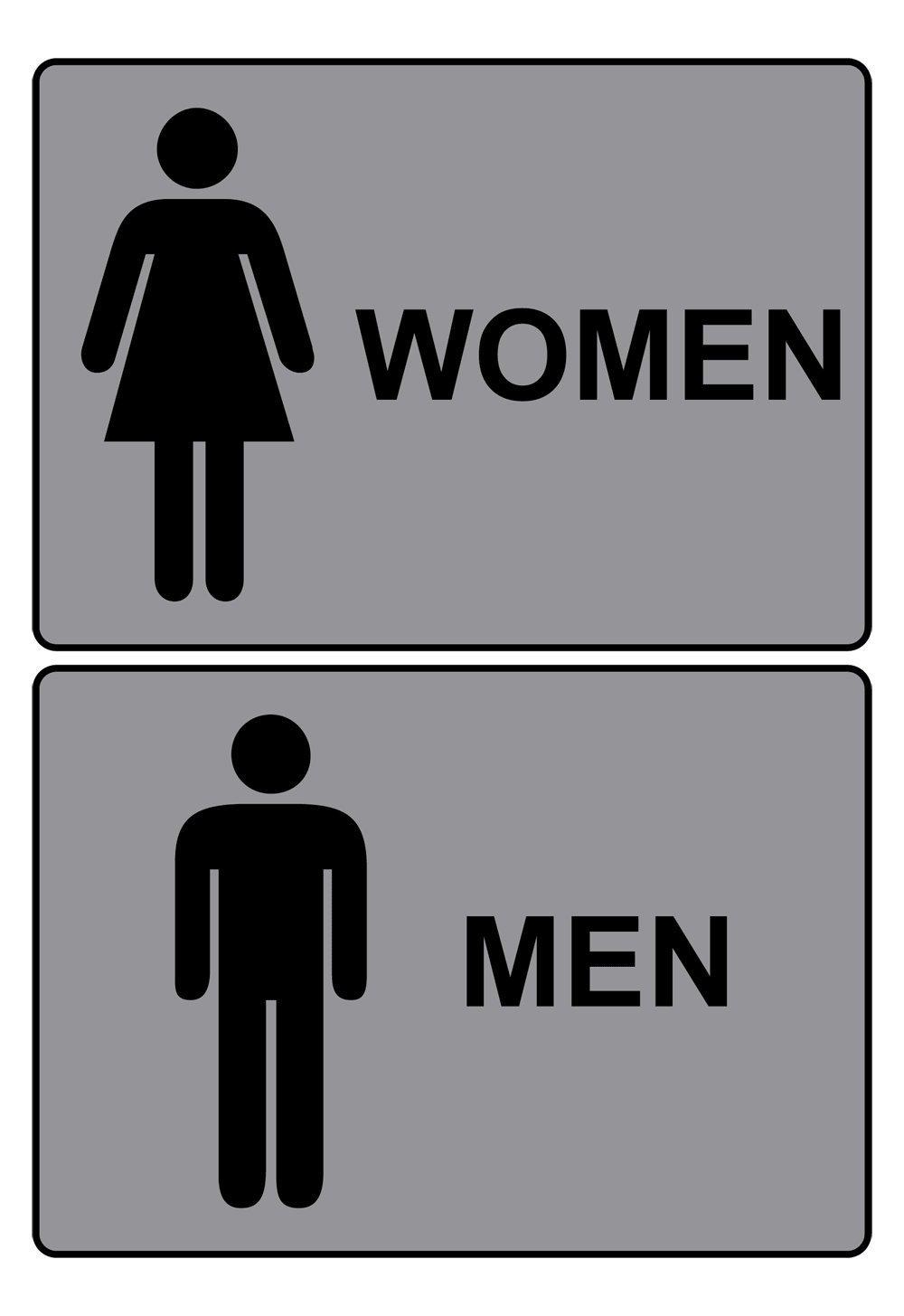 ComplianceSigns Men / Women Aluminum Restroom Signs Set, 10 x 7 with English, Gray