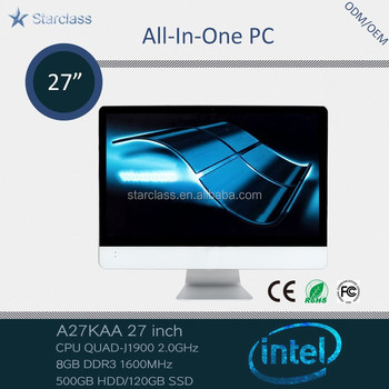 Popular China factory price 27 inch Quad core J1900 8GB Memory 500gb HDD all in one pc led tv smart computer