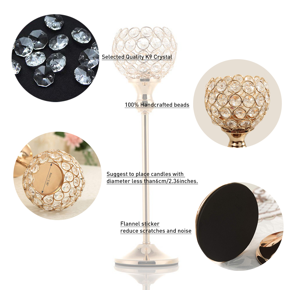 home Decorative pillar tall gold wedding table centerpieces crystal candle holders