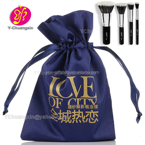 Customized good quality Cosmetic Brush satin bag with logo printing