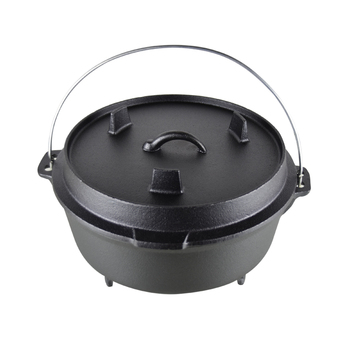 Pre-seasoned bivouac camping cast iron outdoor cookware dutch oven