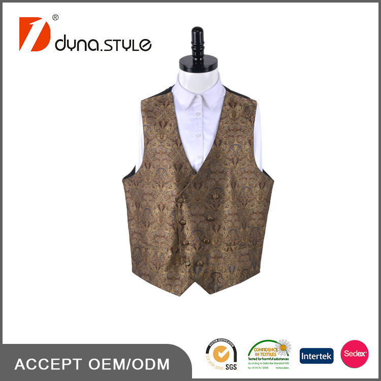Hand Made Sleeveless No Collar Double Breasted Vest with Paisley Design