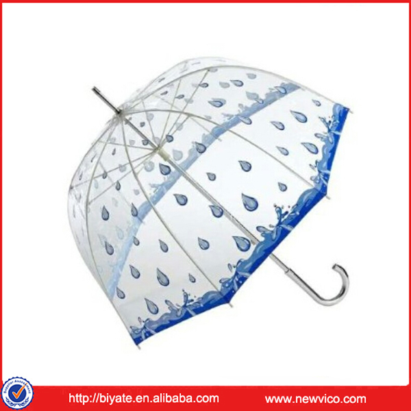 Windproof straight plastic transparent umbrella