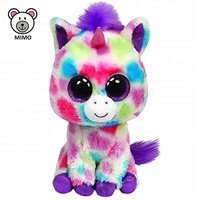 Brand TY Beanie Boos Rainbow Unicorn Plush Toy For Kids Wholesale Custom Big Eyes Colorful Soft Baby Toy Unicorn Stuffed Animal