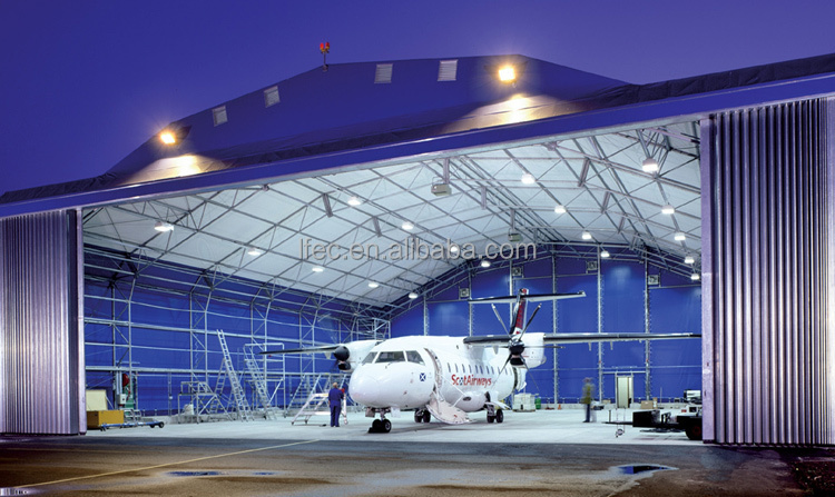 Q345 light steel space frame airplane hangar from China