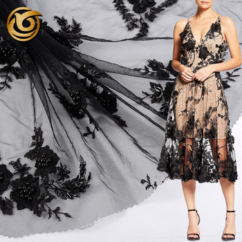 Hot sale fashionable soft 100 polyester black embroidery fabric bridal