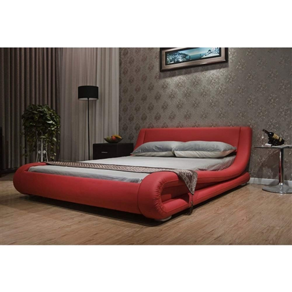MyEasyShopping California King Red Faux Leather Upholstered Platform Bed with Modern Curved Headboard Frame Antique Cast Headboard