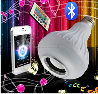 Wireless bluetooth 12W LED speaker bulb Audio Speaker E27 RGBW music playing & Lighting With 24 Keys IR remote Control