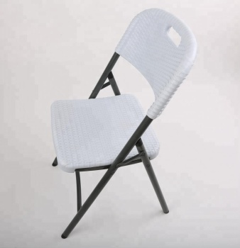 Rattan feature metal frame plastic garden chair