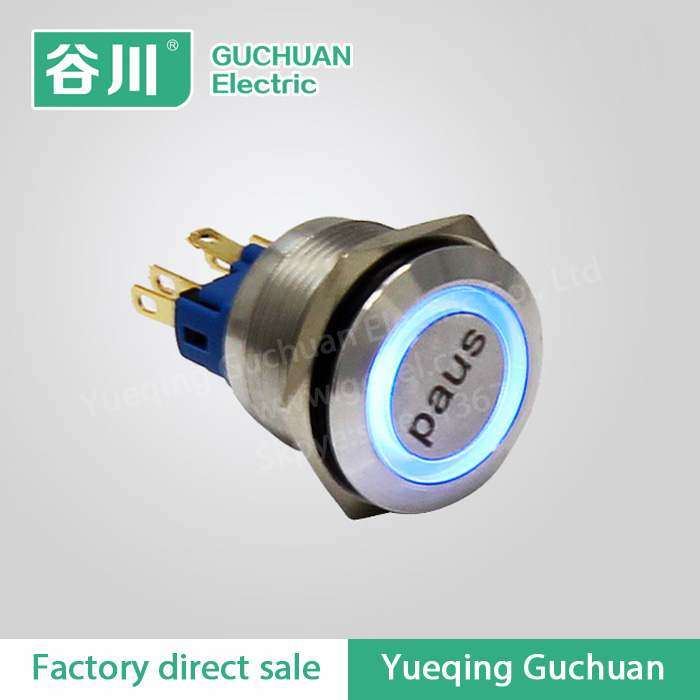 22mm no nc push button switch,illuminated auto on off switch with symbol,GQ22-11E