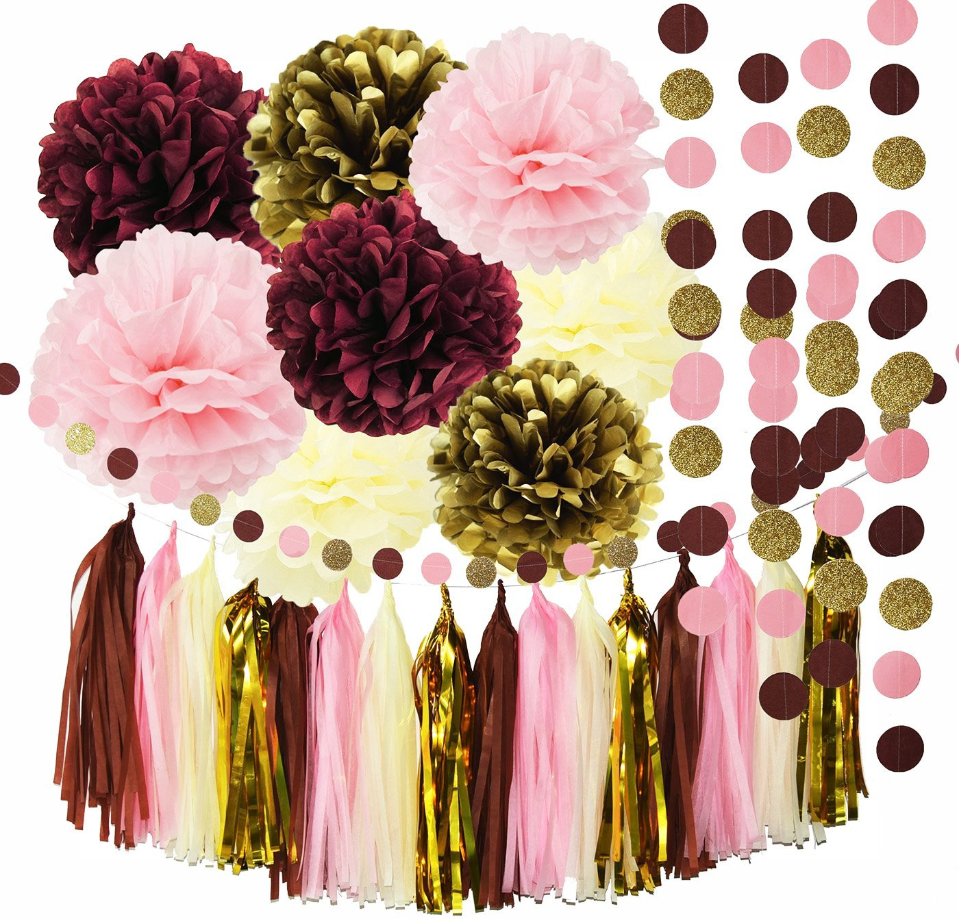 Qian's Party Bridal Shower Decorations Burgundy Pink Glitter Gold Birthday Decorations Tissue Paper Pom Pom Tassel Garland Wedding/Burgundy Party Decorations/Bachelorette Party Decorations