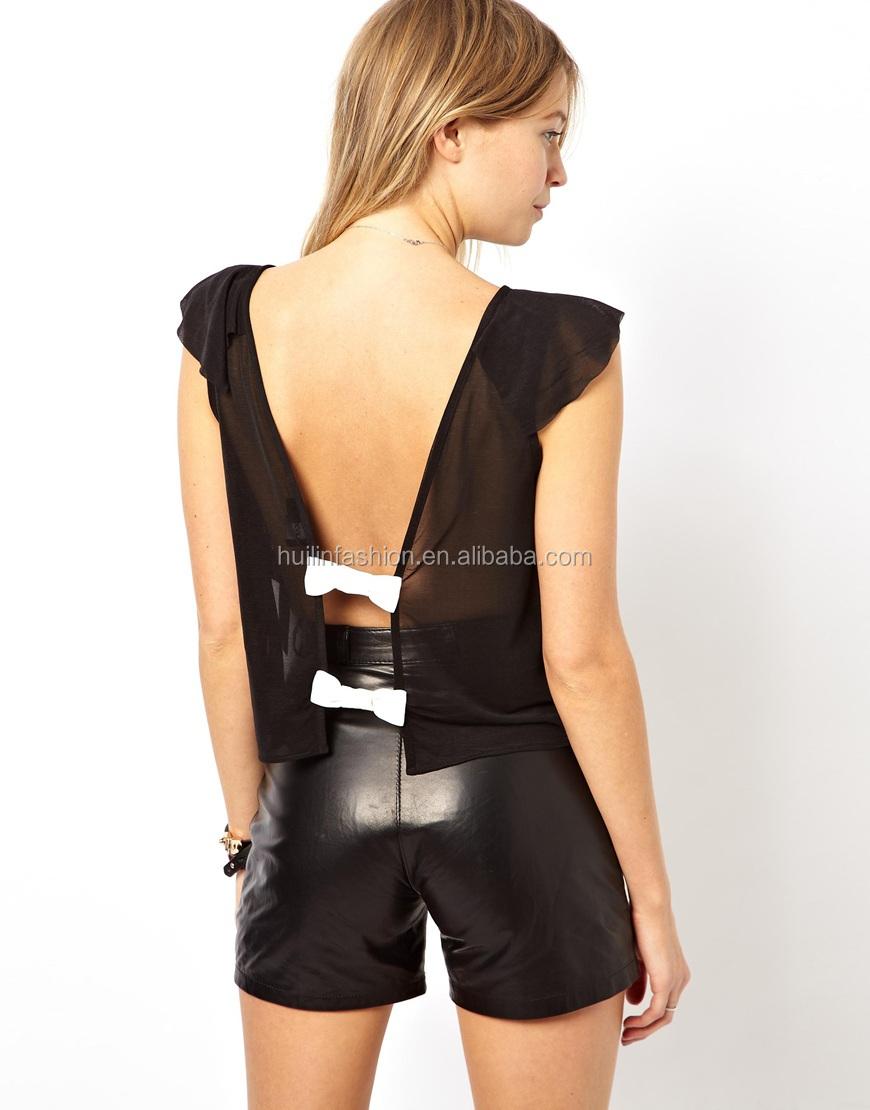 Shirt design china - Wholesale China Bow Back Shell Top Open Back Sexy T Shirt Design
