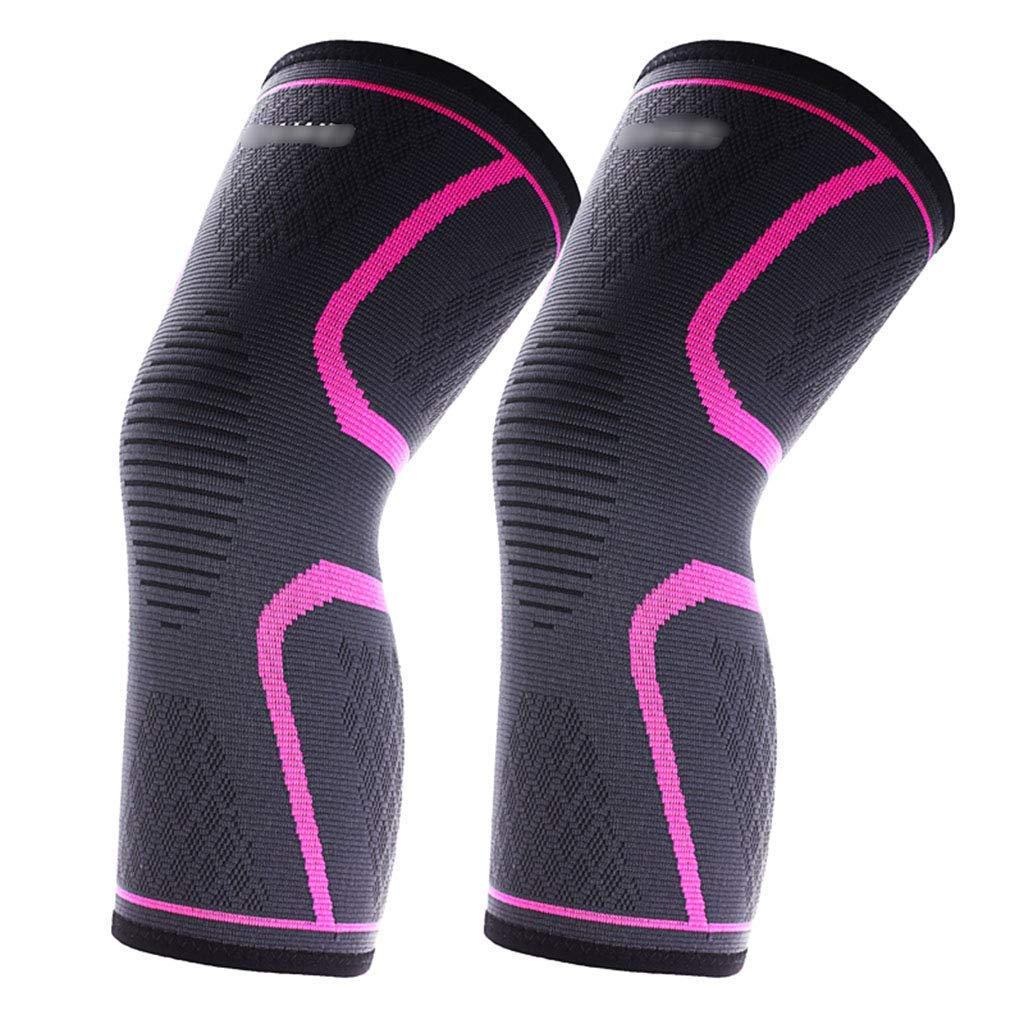 Knee Pads Kneepad high elastic anti-slip breathable knee pads sports knee pads men and women sports fitness running cycling basketball knee protectors 2 Pack ( Color : Black+Pink , Size : S )