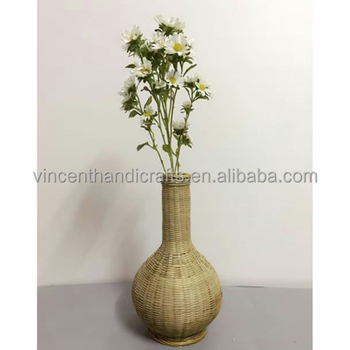Coffee Table Decoration Handmade Natrual Bamboo Vase For Nice Fabric