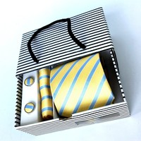 Polyester neckwear ,cufflinks and hanky and with paper box set