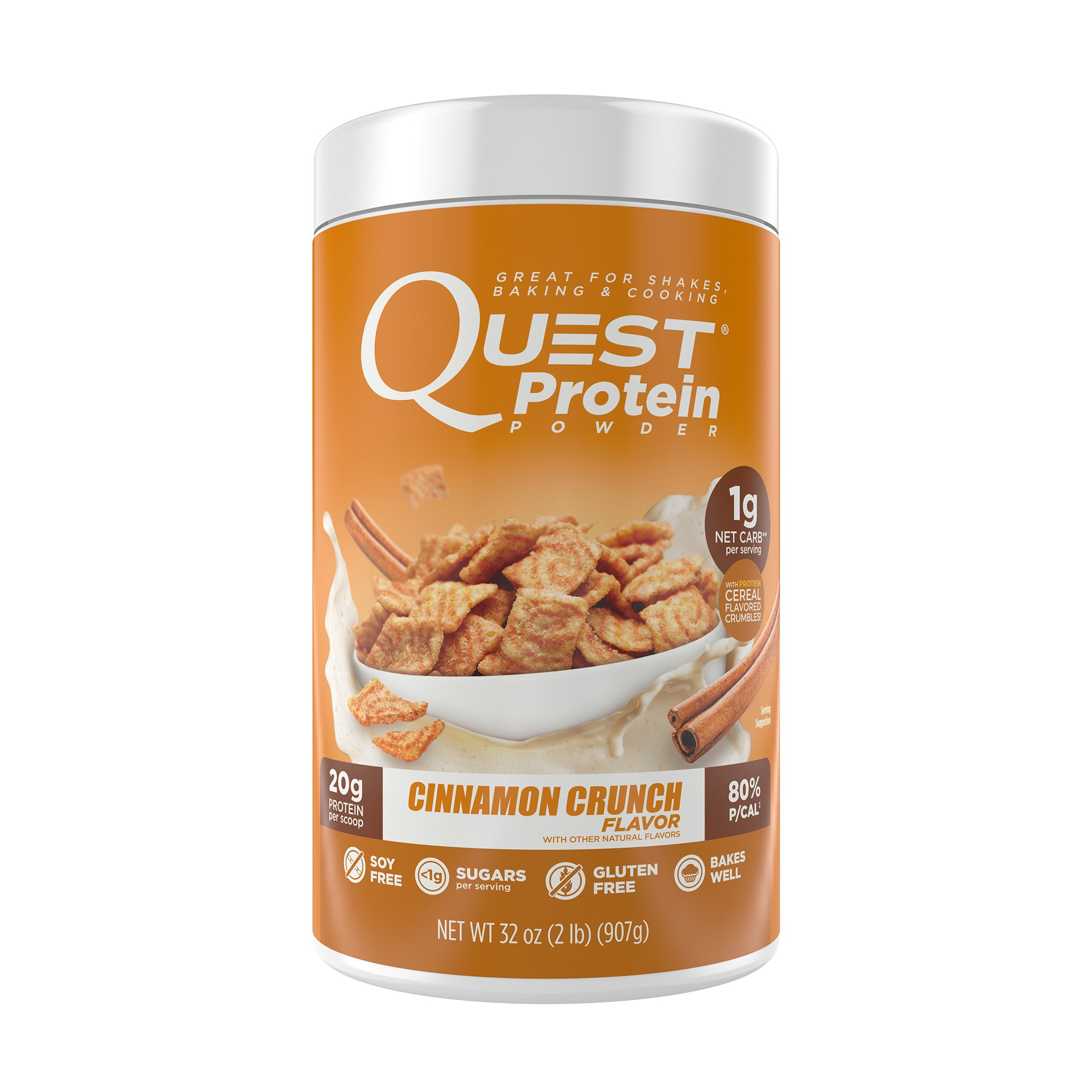 Quest Nutrition Protein Powder, Cinnamon Crunch, 20g Protein, 1g Net Carbs, 80% P/Cals, 2lb Tub, High Protein, Low Carb, Gluten Free, Soy Free, Packaging May Vary