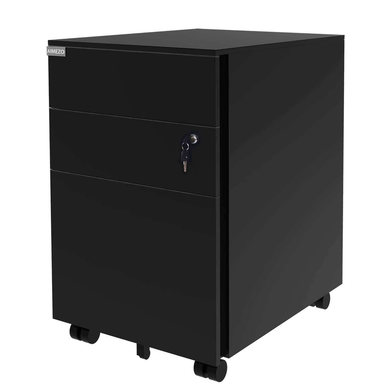 AIMEZO Metal Solid Steel 3 Sliding Drawer Pedestal File Storage Mobile File Cabinet with Lock Key and 5 Rolling Casters