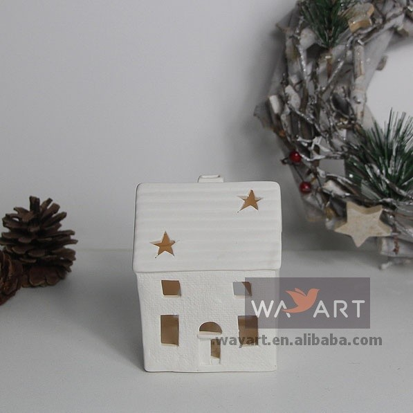 White Hollow Ceramics Small House Candle Holder for Home Decoration