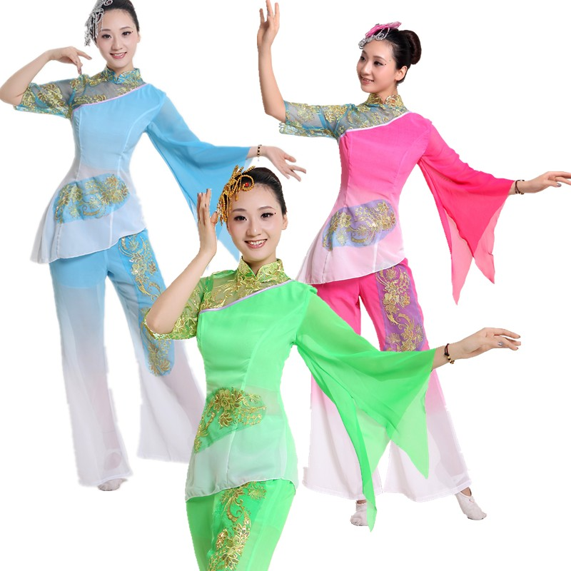 Get Quotations · Modern dance yangko dance fan dance costumes dress costume  stage clothing drum wear Chinese classical dance c2e9bfad1