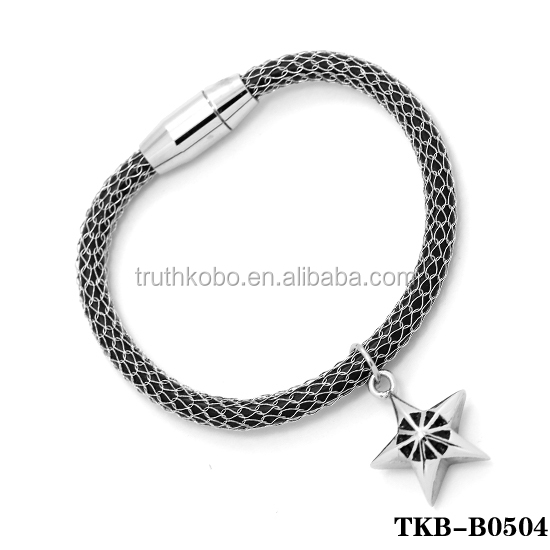 Black Memorial Rope Bracelet High Quality PU Leather Bangle with Magnetic Tube Bar Clasp Cremation Pendant Put Ash for Girl