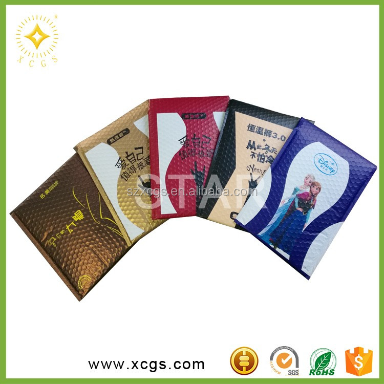 Factory price Strong seal adhesive custom rose gold metallic foil bubble mailer mialing bags