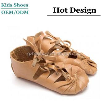 62722799518 100% Handmade Italy leather sandal shoes toddler girls barefoot gladiator  sandals