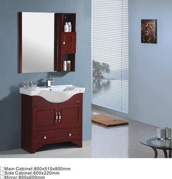 800mm Red Wooden Bathroom Mirror Cabinets