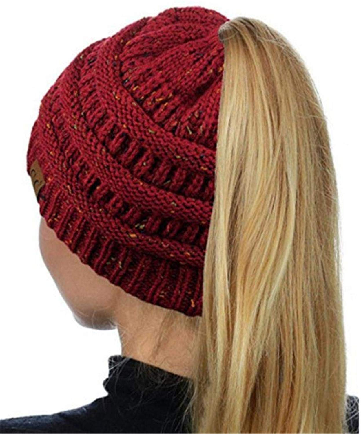 34ad91d1b97db Get Quotations · Aibiner- Accessories Womens Ponytail Beanie Hat Crochet Ponytail  Beanie Hat Winter Baggy Warm Wool Knit