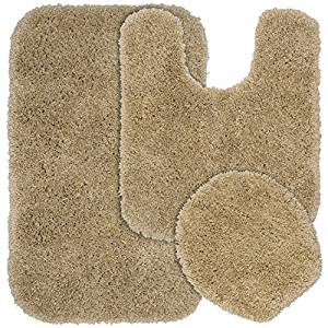 Garland Rug 3-Piece Serendipity Shaggy Washable Nylon Bathroom Rug Set, Taupe by Garland Rug