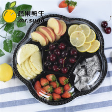 550gMR-5209 6 compartment PET take away disposable plastic cheap fruit tray salad strawberry packing container for sale
