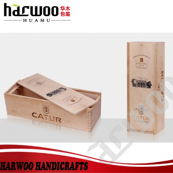 Hot popular single pack wine wood box