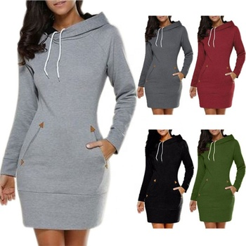 Women Hooded Hoodie Dress Casual Ladies Long Sleeve Sweater Pullover Jumper Tops Plus Size S-5XL