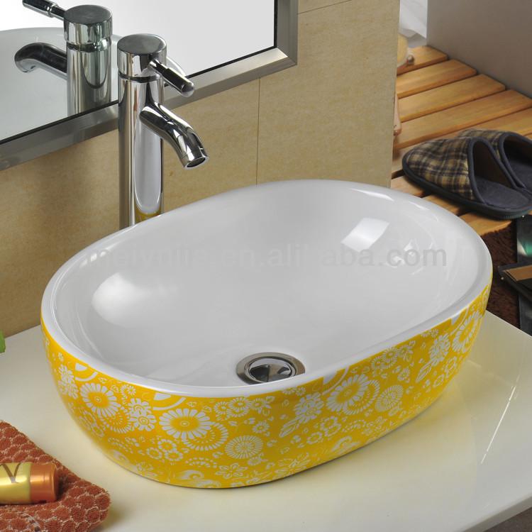 Basin Design Yellow Flower Art Basin Table Top Wash Basin