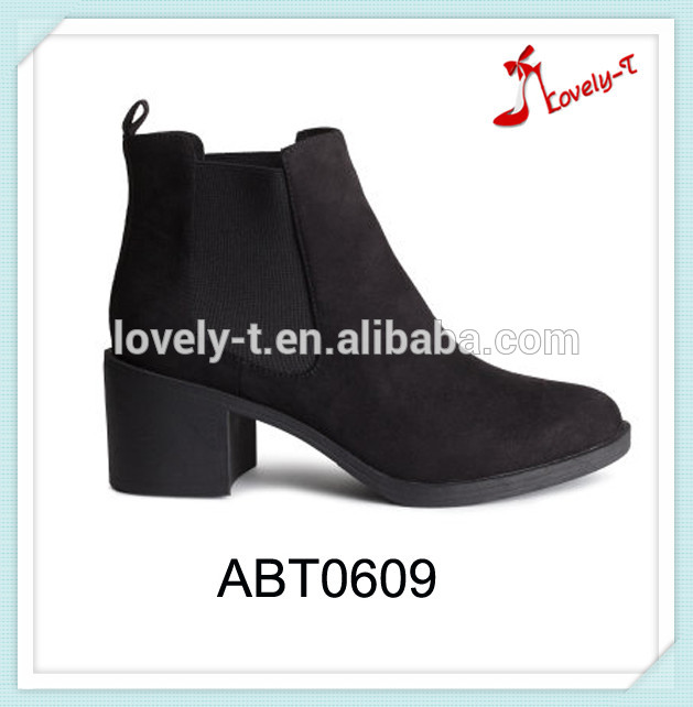 Factory selling woman suede boots asian garden ankle boots with elastic band