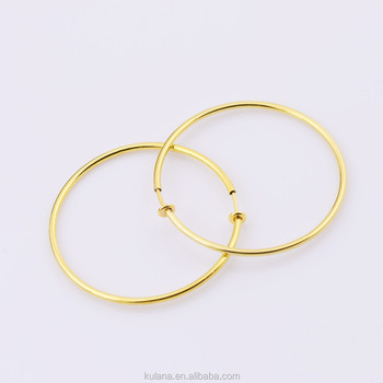 50mm Wide Fake Piercing Spring Hoops Clip On Earrings Round Wire Excellent Quality Thin