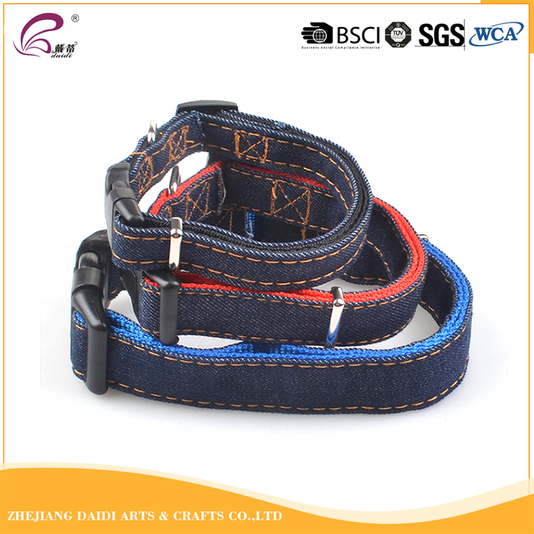 Denim fabrics metal buckle led custom dog collar